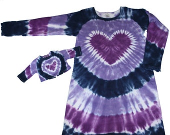 Matching Girl and Doll Tie Dye Dress and Shirt Set in Lavender and Navy with a Purple Heart- Fits 18 and 15 Inch Dolls