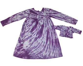 Girl and Doll Tie Dye Dress and Shirt Set in a Spiral of Purples-Fits 18 and 15 inch dolls