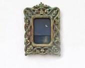 Original framed painting, mini acrylic painting, night landscape, wooden carved vine frame verdigris gold patina. Solitude
