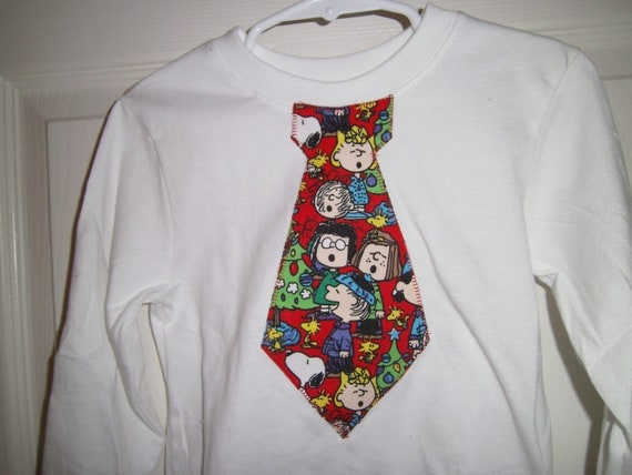 Necktie Applique Tee Shirt, Peanuts and Our Gang, Christmas,  Boys, Infants, Toddler