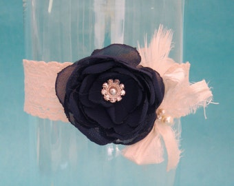 Wedding Garter navy and Ivory garter, lace garter, K290, bridal garter accessory, toss garter