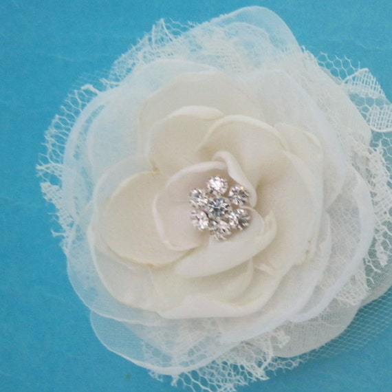 3 inch Ivory Lace, Organza and Chiffon Rose Hair Clip L281- bridal hair accessory
