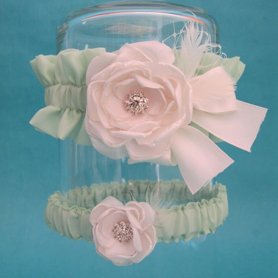 Mint Green and Ivory Feather Rose Garter Set I251 - bridal garter accessory