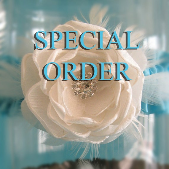 Special Order for aubreyclancey- Bridal Garter,  Hunter Camo and Ivory Satin Feather Rose Garter