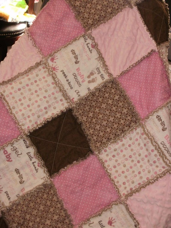 Baby or Toddler Girl Pink and Brown Rag Quilt