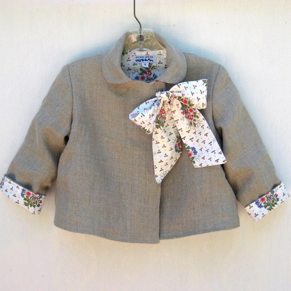 Size 4 Childs Linen Bow Jacket