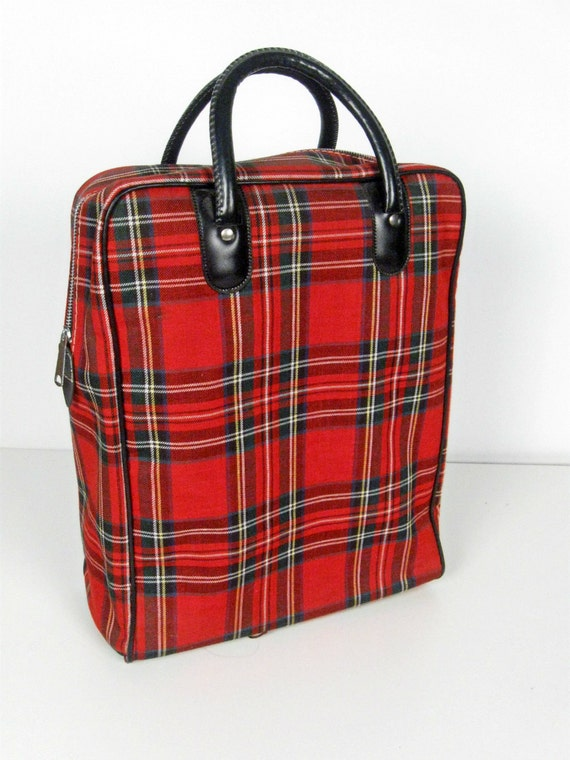 vintage red plaid tote bag with picnic thermos bottle and sandwich box - 1960s