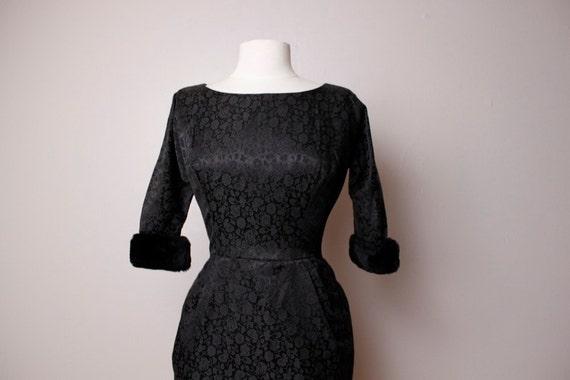 Vintage 1960's Black Brocade Wiggle Dress Faux Fur Cuffs Medium