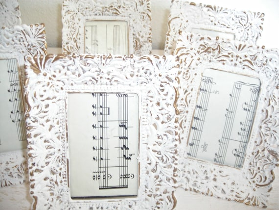 creamy white and gold distressed picture frames - shabby chic cottage wedding decor - filigree hollywood regency - instant photo gallery