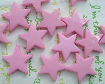 Flat Star beads 10pcs Pink