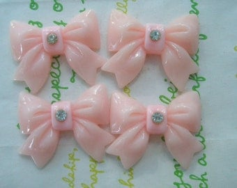 sale Chunky bow with rhinestone cabochons 4pcs  Baby pink