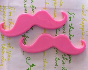 sale Large Moustache  cabochons 2pcs Pink 77mm x 24mm