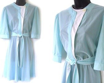 80s Aqua with White Geometric Color Block Accents Sheer Dress M