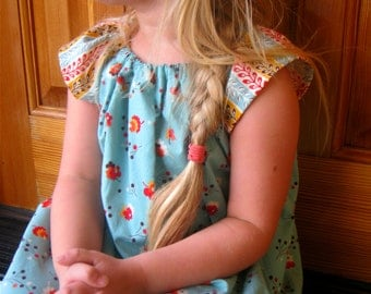 Peasant Dress -Blue Floral - size 5 to 6  years Ready to Ship