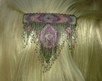 Lg Grey, pink purple 4 Winds Dangle. Hand beaded seed bead hair barrette.
