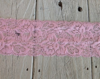 WIDE Stretch Lace  PINK 440  -2 inch -5 yards for 7.25