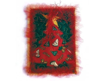 Quilted Fabric Collage Christmas Card Appliqued Tree Free USA Shipping One of A Kind Handmade