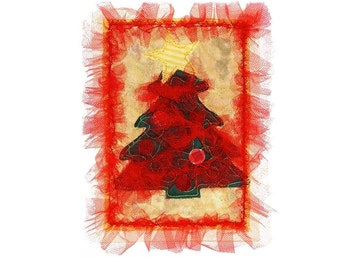 Quilted Christmas Tree Fabric Card Appliquéd Free USA Shipping Handmade