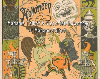 Madame Talbot's Victorian Lowbrow Halloween Dancing Witch Devil Poster