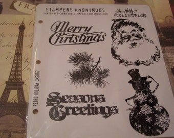 Retro Holiday from Tim Holtz set of 5 images on pink rubber Unmounted Stamps