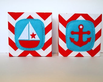 Sailboat and Anchor Nautical Art Blocks Set