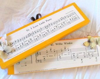 eco friendly Willie Winkie & Little Pussy -pair of vintage sheet music wall hangings