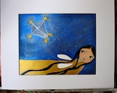 Sky Fairy -  Original Fairy Painting on Paper Folk art by FLOR LARIOS ( 8 x 10 Inches))