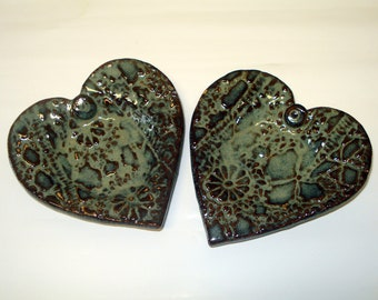 Ceramic heart dish set of two Made to order