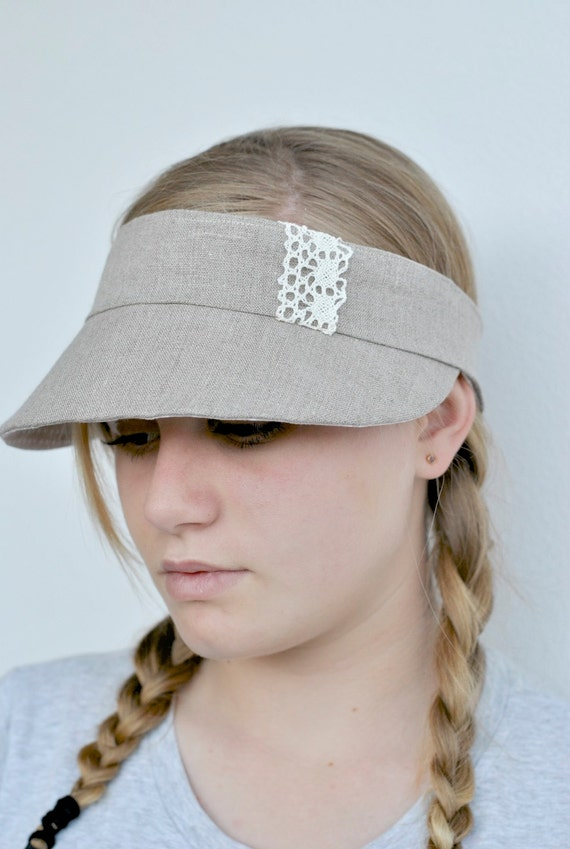 Free Shipping in Australia Natural gorgeous linen Visor reversible and fits all