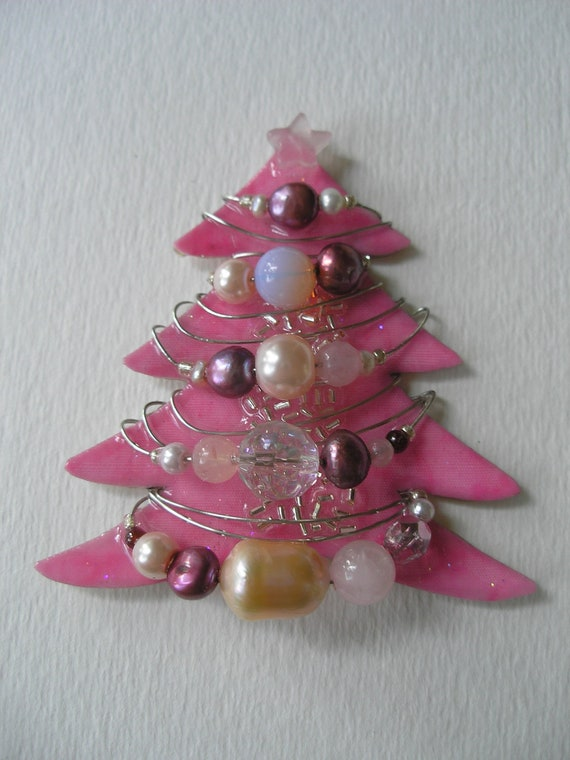 Lg Signed Dalton Glitzy Christmas Pink Tree Pin Pendant Pearls Crystal Czech Glass Rose Quartz