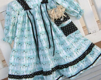 Old Fashioned Flannel Nightgown- Aqua and White Flannel with Rows of Snowmen  Size 3-4, Rag Doll Also