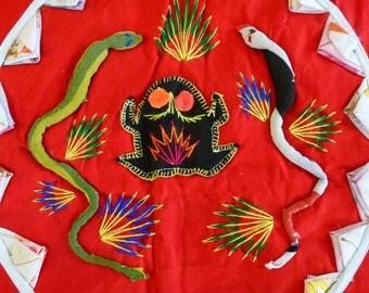 Vintage Ethnic Tote Bag Patchwork Quilted Embroidered Applique Frog Snake Spider Red Blue Farmers Market Bag Purse Green Bag Reusable Bag