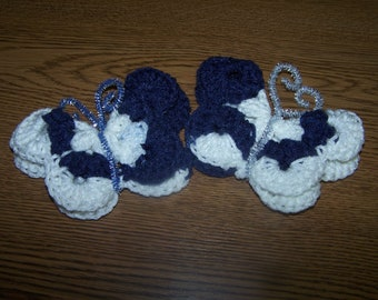Colts Colors - Crocheted Butterfly Refrigerator Magnets - Very Pretty - Unique -  Gift