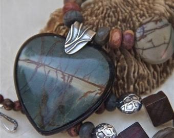 earthy heart necklace picasso jasper intarsia pendant red river jasper