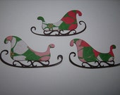3 Christmas Sleigh HandMade embellishment for scrapbooking or card making tree Santa
