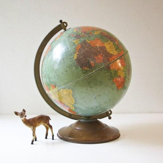 """Vintage Globe - 12"""" Replogle - Aqua Green Color"""