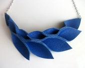 Petal Collection:  Electric Blue Leather Petals Necklace