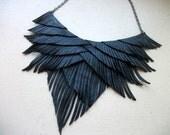 Sale 20% off use code ETSY20 Black Leather Fringe Necklace