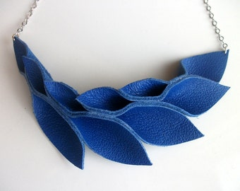 Petal Collection:  Electric Blue Leather Petals Necklace
