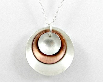Domed Disc Pendant Necklace Mixed Metal Sterling Silver Copper Gifts for Her