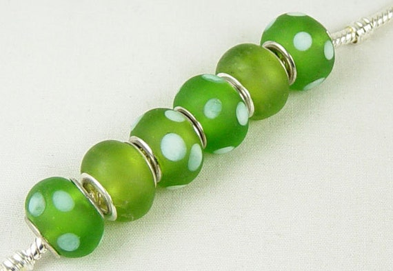 6 Lampwork European Rondelle Beads with Silver Plated Eyelets Widow/Orphans 14mm (1024pan14m6)