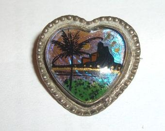 Vintage Butterfly Wing BROOCH heart