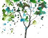 Tiny Blue Green Tree, ACEO PRINT of watercolor and ink illustration