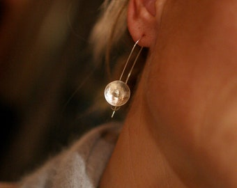 Brushed silver concave earrings