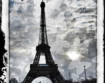 Paris - Eiffel Tower and Butterflies -Dreamy Black and White Photography.Contemporary Original Signed Fine Art