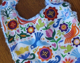 On Sale - Pink, Blue and Red Bird and Flower Minky Baby/Toddler Bib