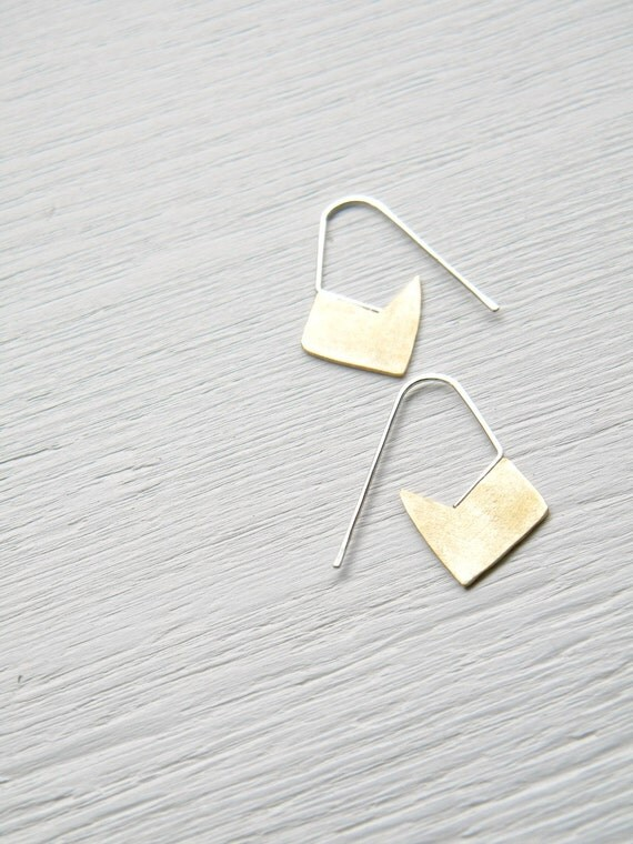 FREE SHIPPING - Little Brass Geometric Earrings - handmade solid brass and silver dangle sparrow, flower blossom earrings, Etsy