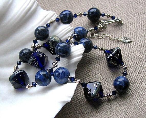 Blue Beaded Necklace, Artisan Lampwork Glass, Sodalite Gemstone, Sterling Silver - BLUE VELVET
