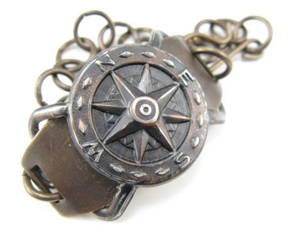 Compass Bracelet, Steampunk look, Brass and Arte Metal Bracelet