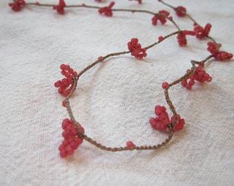Pink Raspberry Flower crocheted hypoallergenic seed bead necklace